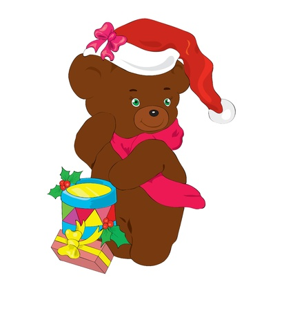 New Years bear with gifts.  Vector