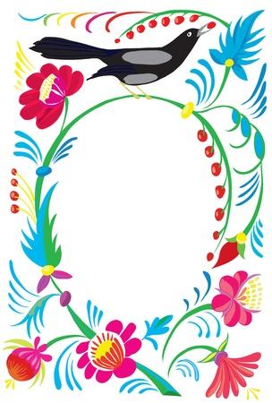 springtime: Flower ornament with a bird pecking a mountain ash.