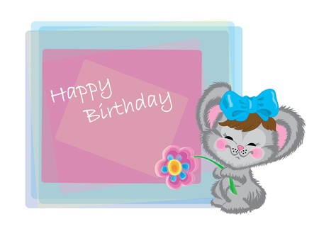Mouse with a bow and a flower on birthday Vector