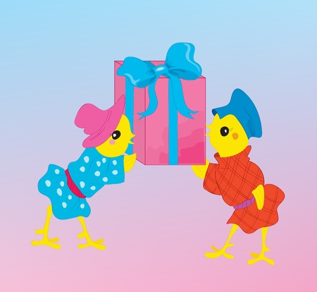 Two chickens with a gift for new year Vector