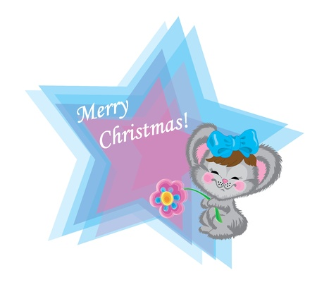 Cheerful mouse with a bow on a head and a floret. Vector