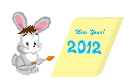 The cheerful New Years hare with a brush for drawing. Vector