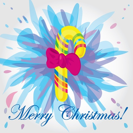Bright Christmas card with a sweet. Vector