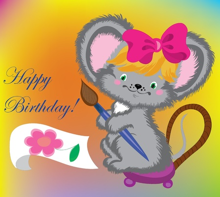 The mouse draws a card on birthday. Vector
