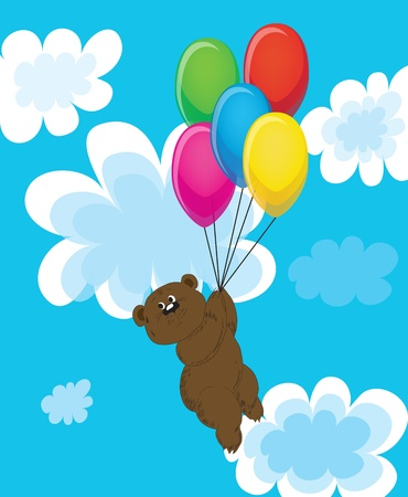 Bear on balls in clouds. Vector