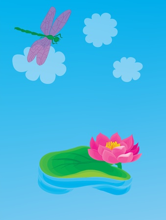 Landscape. A beautiful lily with a dragonfly. Vector