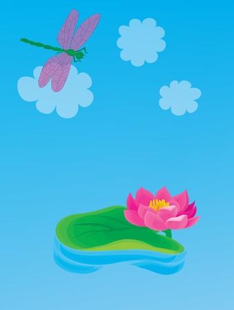 natura morta con fiori: Paesaggio. Un giglio bello con una libellula.