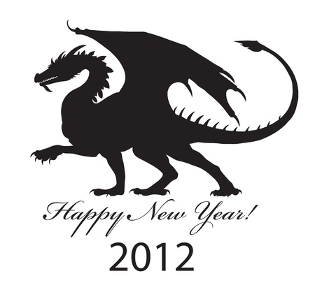 Silhouette di un drago nero del 2012. Vettoriali