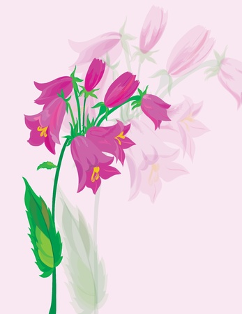 Hand bells. A beautiful bouquet of lilac colors. Vector