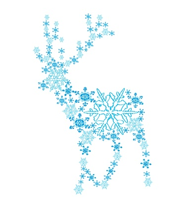 Beautiful deer in the form of a snowflake