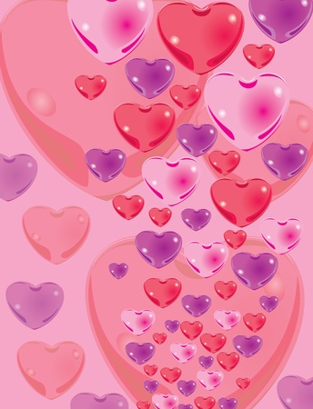 Beautiful color hearts on a pink background.