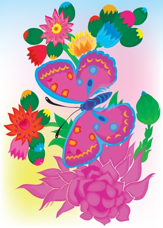 Summer background with the butterfly and colors.