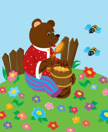 Bear on a lawn with a butt of honey and bees Illustration