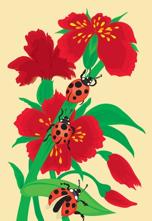 Red bunch of flowers with a ladybird Stock Vector - 12441940