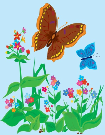 Summer landscape. Butterflies with flowers  Vector