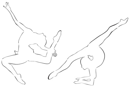 Abstract girls engaged in gymnastics