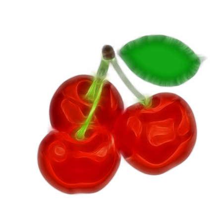 Three juicy cherry on a branch. Stock Photo