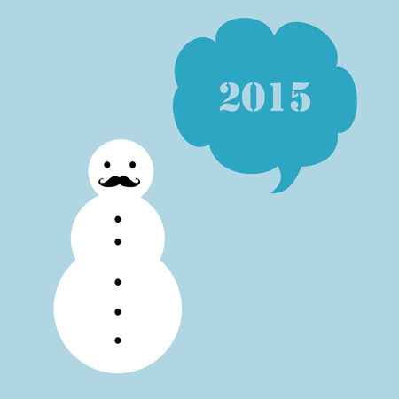 nye: A simple New Year 2015 card with a moustached snowman.