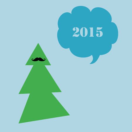 nye: A simple New Year 2015 card with a moustached tree.