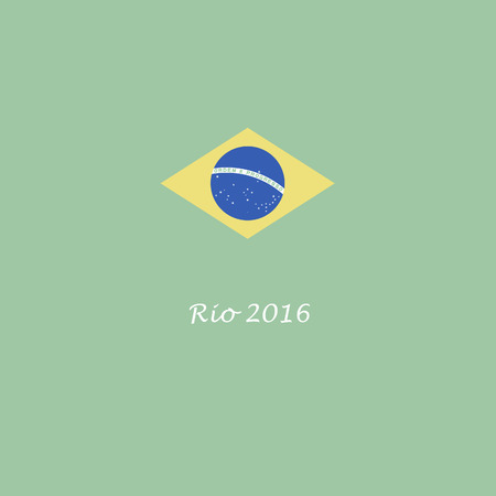 muted: Brazil Rio de Janeiro 2016 Summer Games flag graphic in muted retro colors.