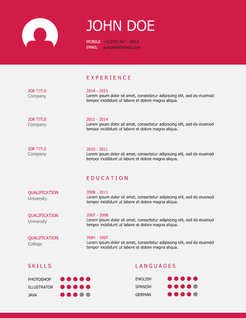 job hunting: Professional simple styled resume template design with pink header and gray background. Illustration