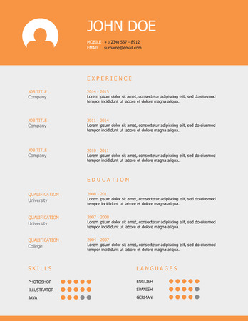 job hunting: Professional simple styled resume template design with orange header and gray background.