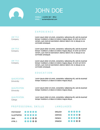 work head: Professional clean styled resume template design with a teal header. Illustration