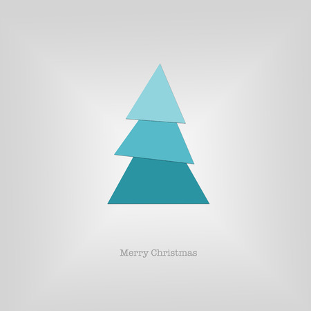 nye: Sleek modern Merry Christmas card with a folded blue paper tree. Stock Photo