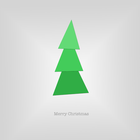 sleek: Sleek modern Merry Christmas card with a folded green paper tree.