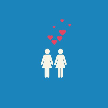 lesbianas: Gr�fico simple l�sbico gay con dos figuras femeninas y corazones rosados ??en un fondo azul. Foto de archivo