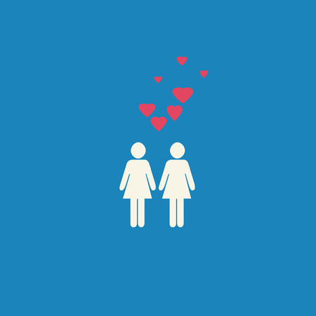 Simple gay lesbian graphic with two female figures and pink hearts on a blue background.