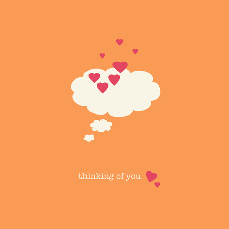 endearing: A sweet Valentines Day card with a thought bubble covered in pink hearts. Stock Photo