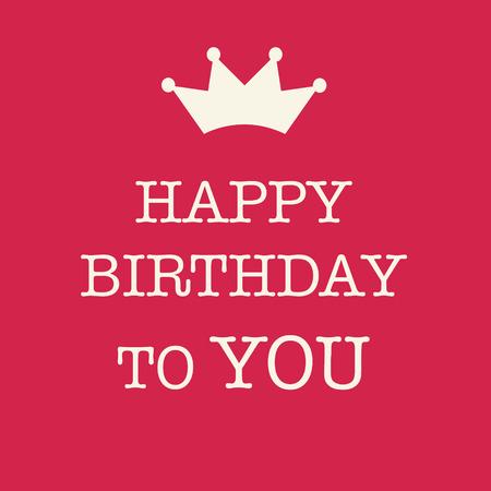 compleanno: Carino carta di buon compleanno con un testo e una principessa corona su uno sfondo rosa. Archivio Fotografico