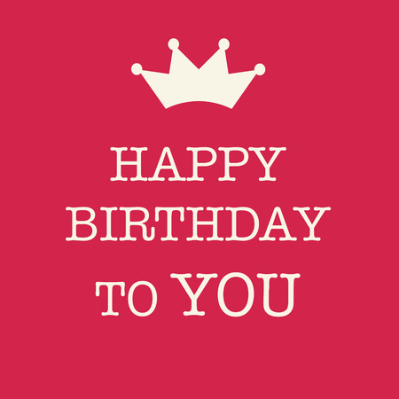 Cute Happy Birthday card with a text and a princess crown on a pink background. Banque d'images