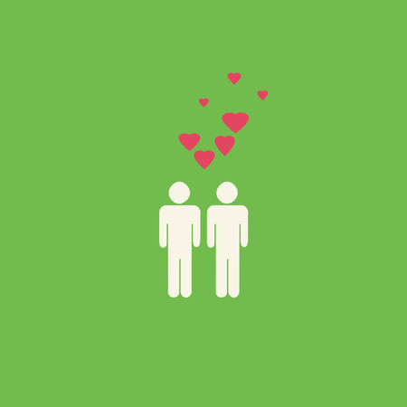 dating: Simple gay graphic with two male figures and pink hearts on a green background.