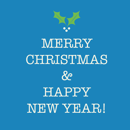 nye: Simple blue Merry Christmas and Happy New Year card with holly.
