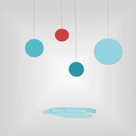 sleek: Sleek modern Merry Christmas card with blue and red Christmas baubles