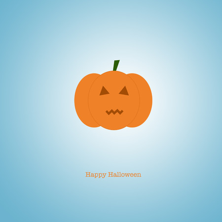 liturgy: Happy Halloween card with a scary carved pumpkin on a blue background.