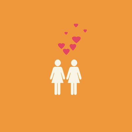 activism: Simple gay lesbian graphic with two female figures and pink hearts on an orange background.