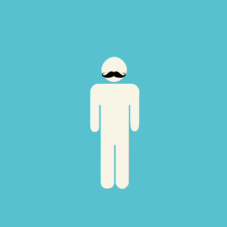 turquiose: Movember prostate cancer awareness - stick figure with mustache on blue background.