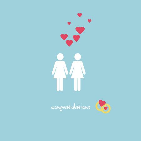human figure: Un dulce tarjeta de felicitaciones de boda con una lesbiana figuras de la pareja, anillos y corazones de color rosa sobre fondo azul claro.