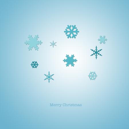 nye: Sleek modern Merry Christmas card with blue paper snowflakes.