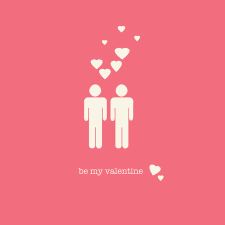 endearing: A sweet Valentines Day card with a gay couple figures and hearts on pink background.