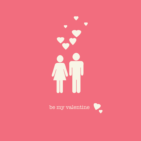 endearing: A sweet Valentines Day card with a straight couple figures and hearts on pink background.