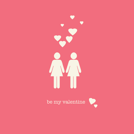 endearing: A sweet Valentines Day card with a lesbian couple figures and hearts on pink background. Stock Photo