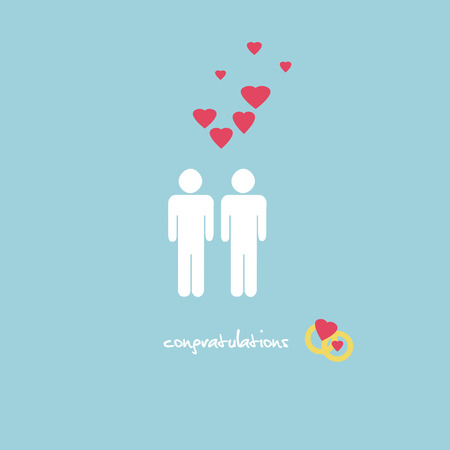 couple dating: A sweet wedding congratulations card with a gay couple figures, rings and pink hearts on light blue background.