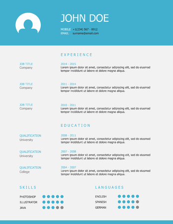 job hunting: Professional simple styled resume template design with blue header and gray background.