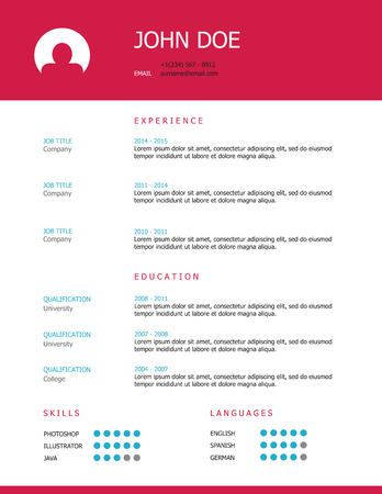 headings: Professional simple styled resume template design with pink and blue headings
