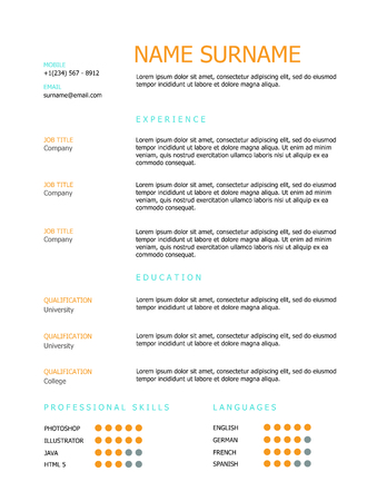 headings: Professional simple styled resume template design with orange and blue headings