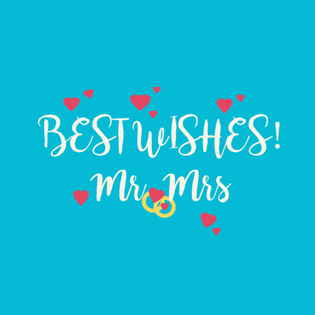 mrs: Cute blue wedding Best Wishes Mr Mrs congratulations card with pink hearts and golden rings.